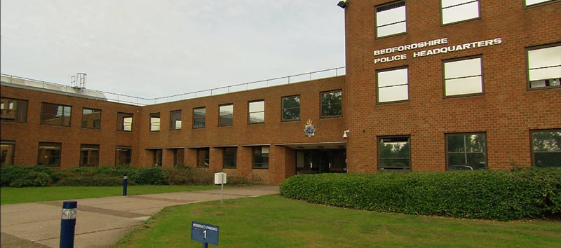 Bedfordshire police HQ view of the front of the Reception entrance