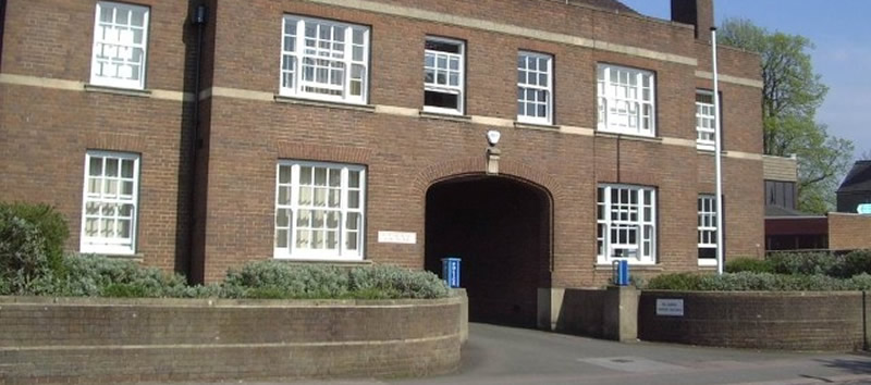 close up picture of Halsey Road Police station Bedford town