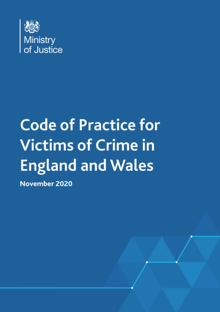 front cover for the code of practice for victims of crime