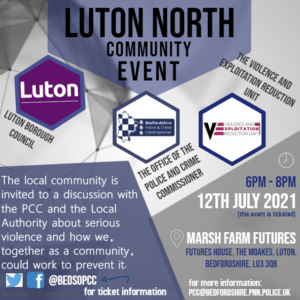 Poster advertising the Luton North Community Event