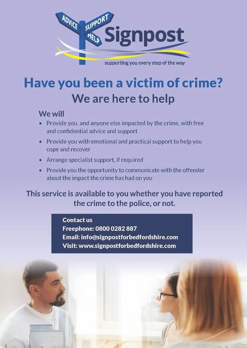 World Wellbeing Week feature on Signpost, Bedfordshire's victim support service