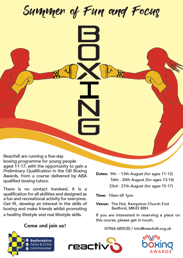 Reactiv8 Summer Programme Leaflet for Boxing