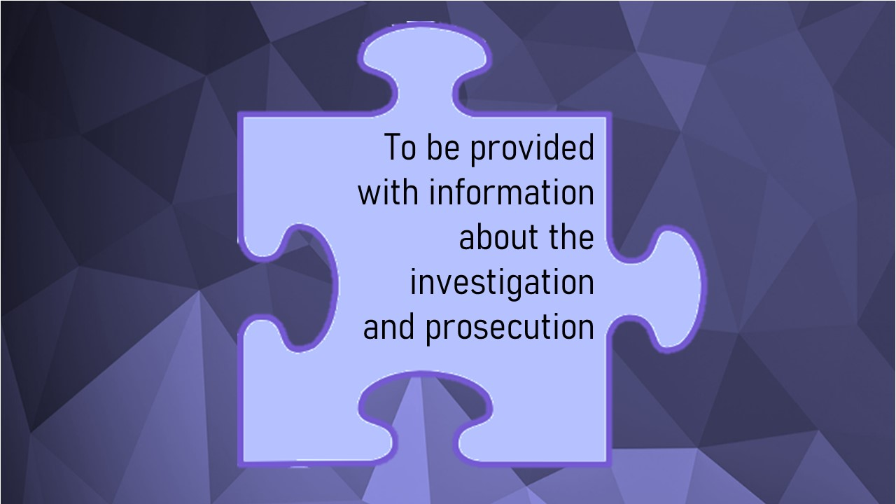 The Code of Practice for Victims (Victims' Code) Individual rights information – Right 6 of 12
