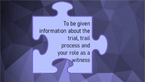 VCOP 8 - Jigsaw puzzle picture which reads To be given information about the trial, trail process and your role as a witness