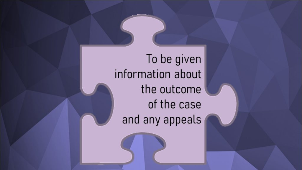 VCOP image for article: to be given information about the outcome of the case and any appeals