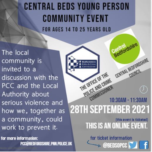 Central Beds Young Person Community Event for Ages 14 to 25 years old