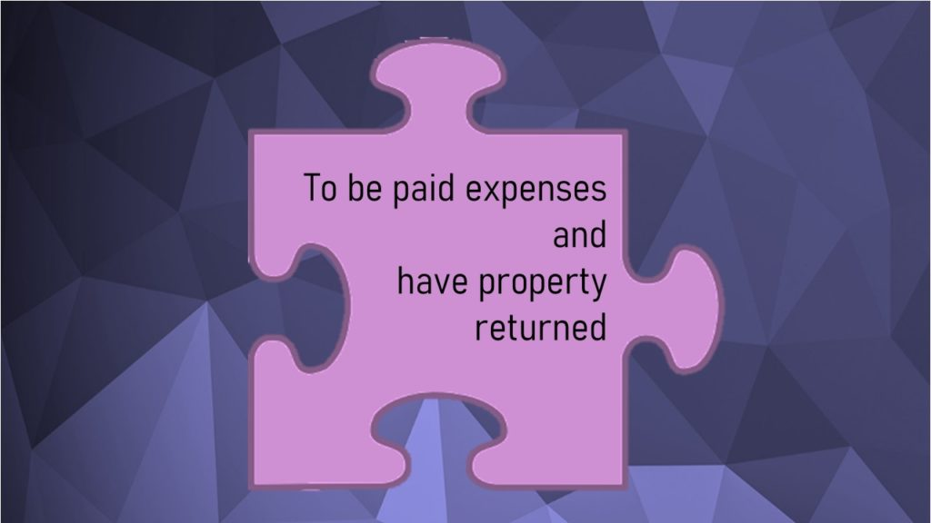 VCOP image for an article: to be paid expenses and have property returned