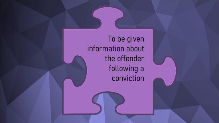 VCOP image for article: to be given information about the offender following a conviction