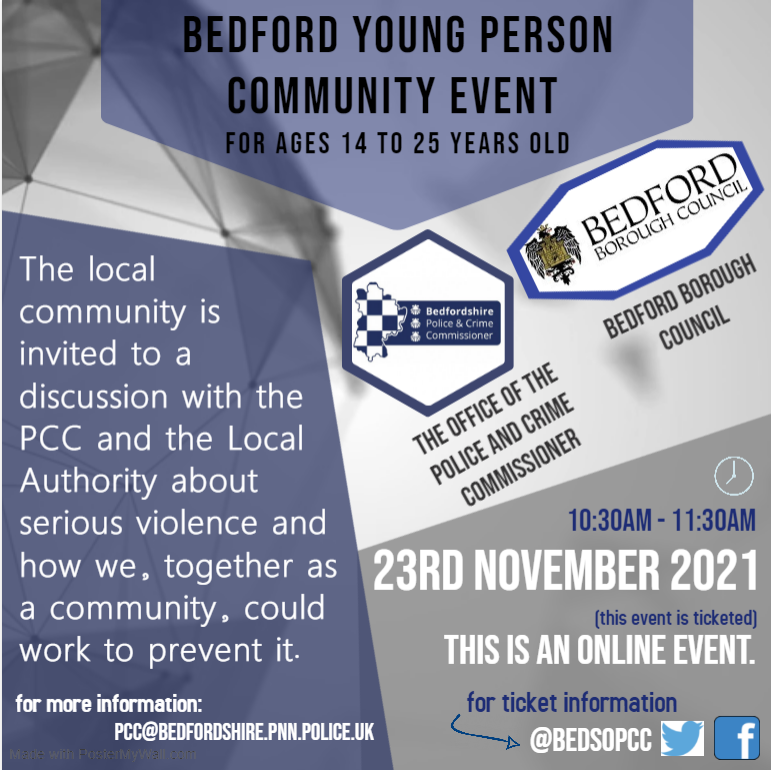Bedford Young Person Community Event for Ages 14 to 25 years old